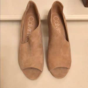 Tan Calvin Klein open toe heels with cut out sides